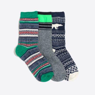 Boys' marled cotton fair isle socks three-pack   sale