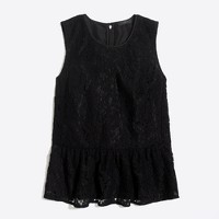 Floral lace peplum tank top