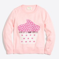Girls' cupcake intarsia popover sweater