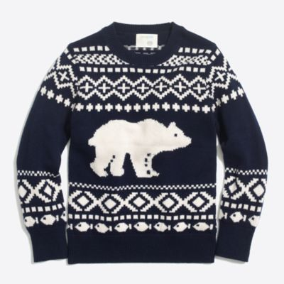 Boys' bear fair isle crewneck sweater