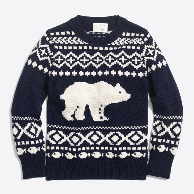 Boys' bear fair isle crewneck sweater