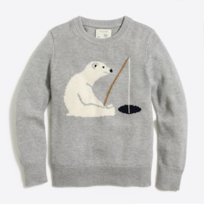 Boys' ice fishing bear intarsia sweater