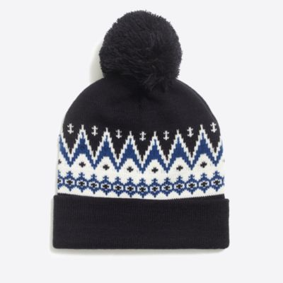 Mountain Fair Isle pom beanie