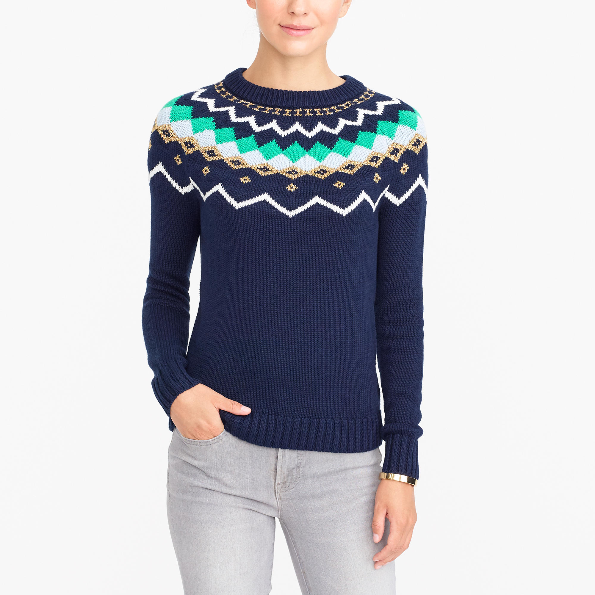 Lurex fair isle sweater : FactoryWomen Pullovers | Factory