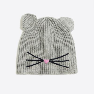 Girls' ribbed kitty hat