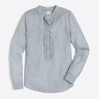 Ruffle-front popover shirt