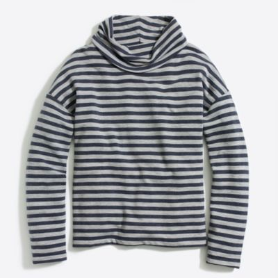 Striped tunnelneck pullover sweatshirt factorywomen knits & t-shirts c