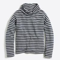 Striped tunnelneck pullover sweatshirt