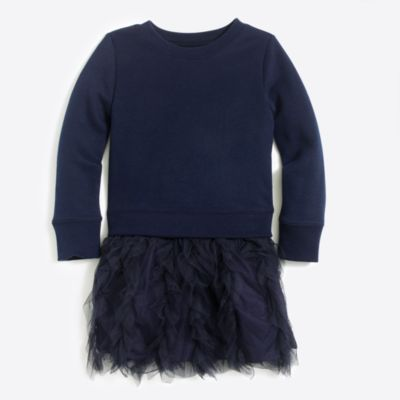 Girls' ruffle tulle sweatshirt dress