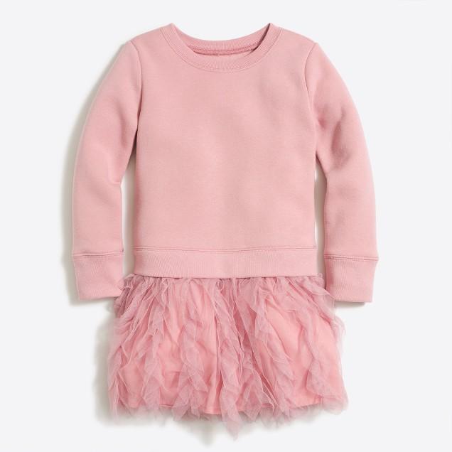 Girls' ruffle tulle sweatshirt dress
