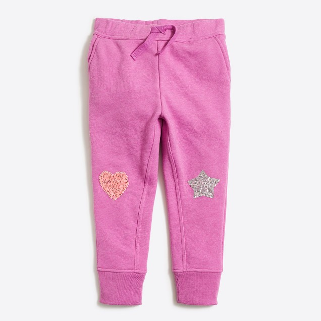 Girls' sequin knee patch sweatpant