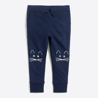 Girls' kitty knee patch sweatpant