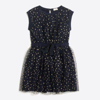 Girls' short-sleeve sparkle star tulle dress   sale