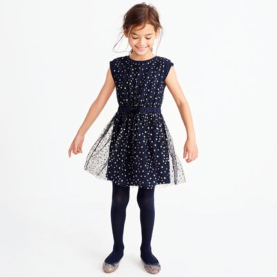 Girls' short-sleeve sparkle star tulle dress