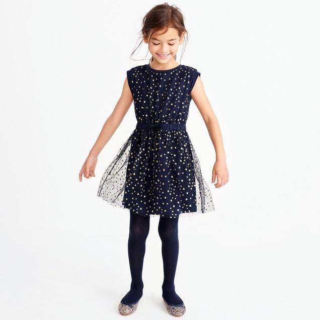 Girls' short-sleeve sparkle star tulle dress