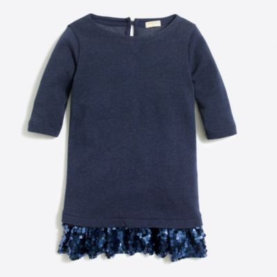 Girls' sequin skirt sweatshirt dress