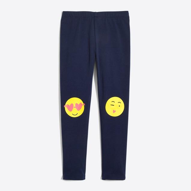 Girls' emoji knee patch leggings
