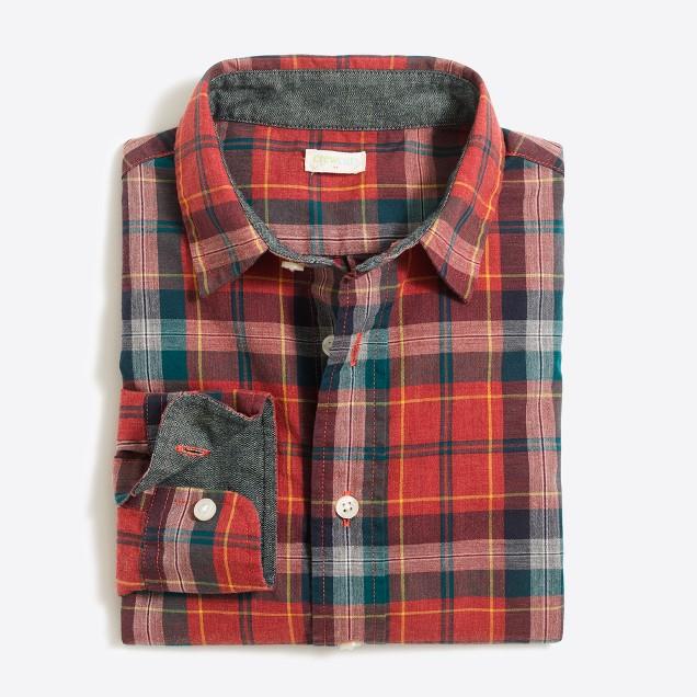 Boys' long-sleeve patterned washed shirt