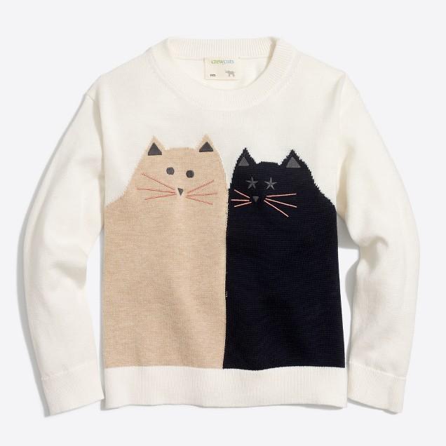 Girls' cat friends popover intarsia sweater