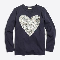 Girls' long-sleeve floral sequin heart keepsake T-shirt