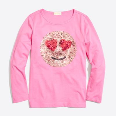Girls' long-sleeve sequin emoji keepsake T-shirt