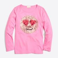 Girls' long-sleeve sequin emoji keepsake T-shirt