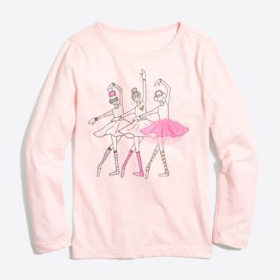 Girls' long-sleeve three ballerinas keepsake T-shirt