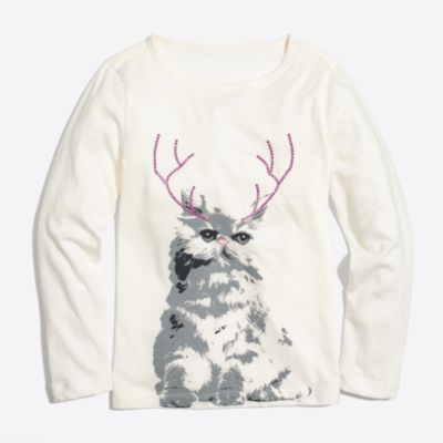 Girls' long-sleeve cat with antlers keepsake T-shirt