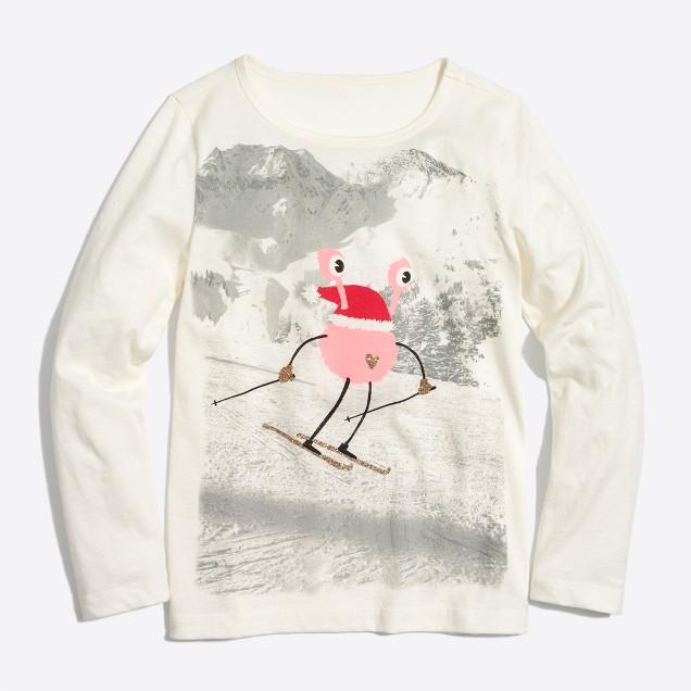 Girls' long-sleeve skiing monster keepsake T-shirt
