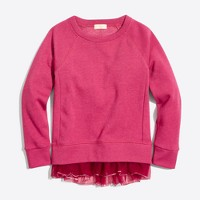 Girls' sequin tulle hem sweatshirt