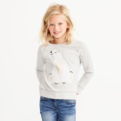 Girls' sequin polar bear sweatshirt