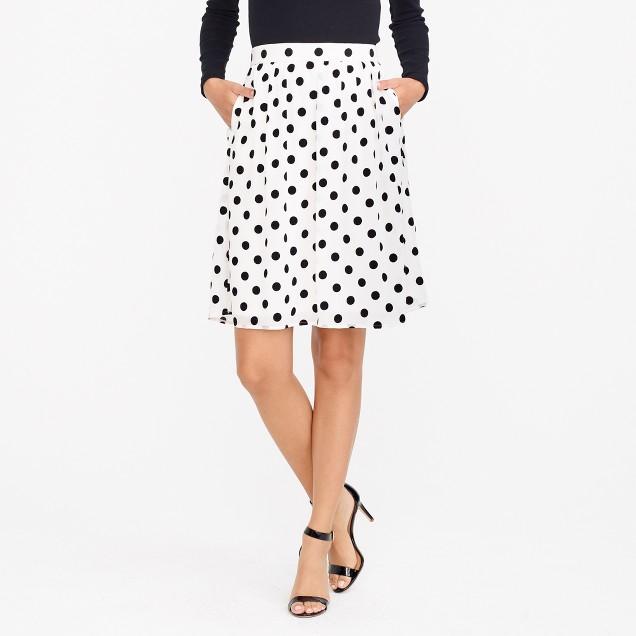 Velvet dot midi skirt