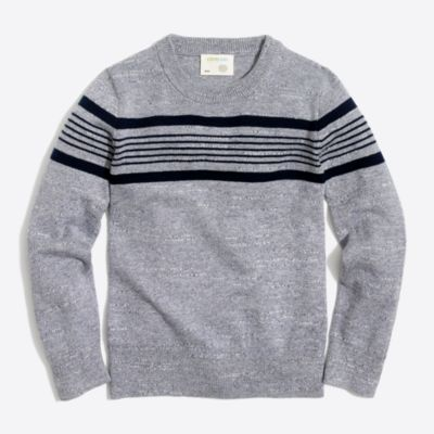 Boys' chest stripe cotton crewneck sweater   sale