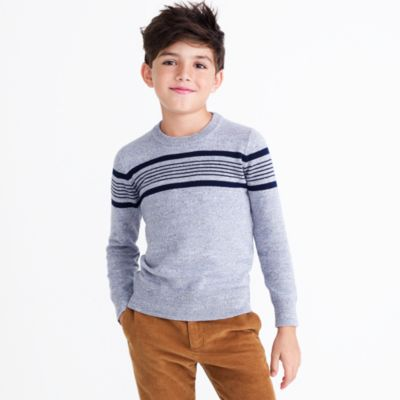 Boys' chest stripe cotton crewneck sweater