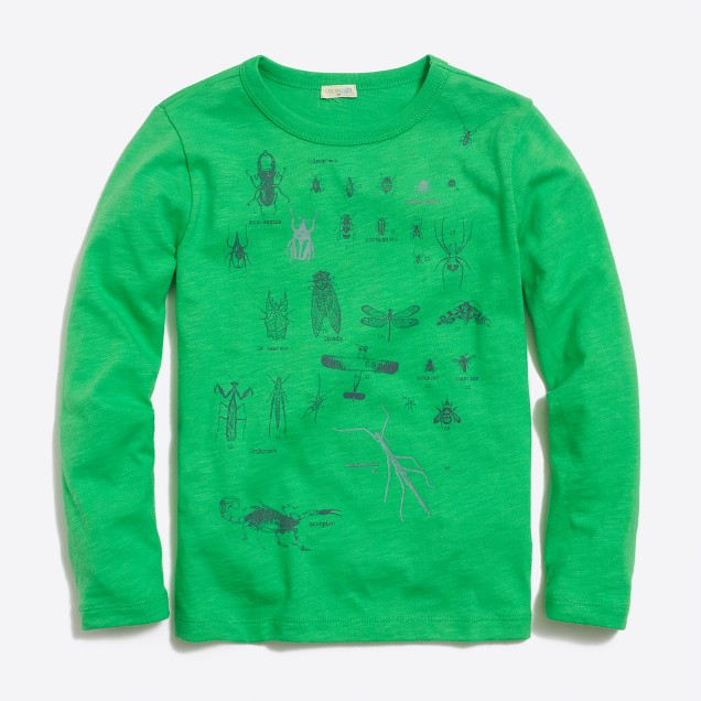 Boys' long-sleeve glow-in-the-dark bugs storybook T-shirt