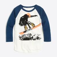 Boys' raglan sleeve snowboarder storybook T-shirt