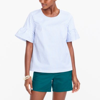Ruffle-sleeve striped top factorywomen new arrivals c