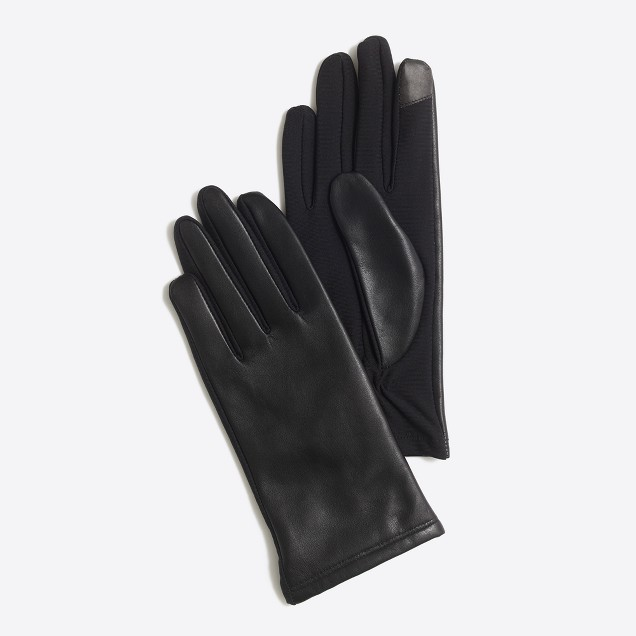 Lined leather tech gloves