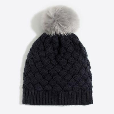 Faux-fur pom pom hat