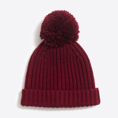 Cozy ribbed pom-pom hat