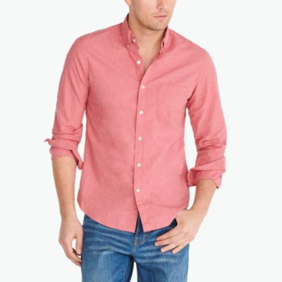 Slim washed shirt in heathered cotton factorymen new arrivals c