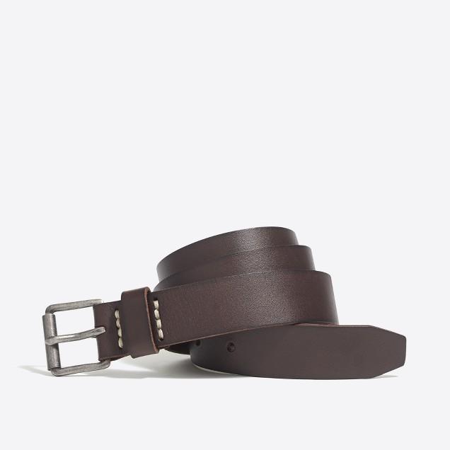 Washed leather roller belt