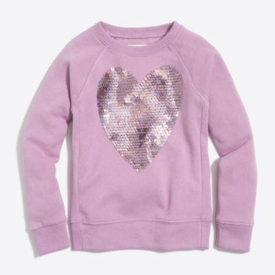 Girls' sequin heart sweatshirt   sale