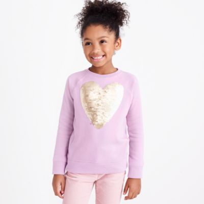 Girls' sequin heart sweatshirt factorygirls shirts, t-shirts & tops c