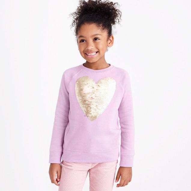 Girls' sequin heart sweatshirt