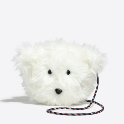 Girls' polar bear faux fur bag