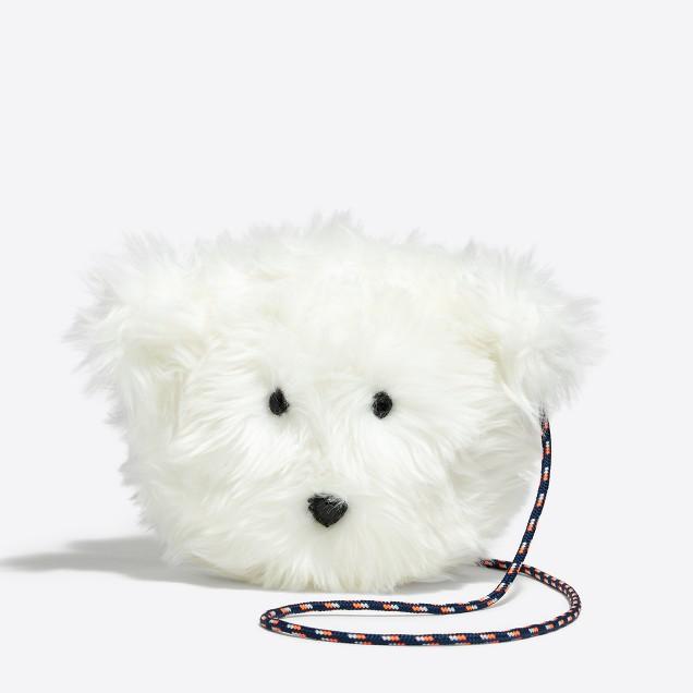 Girls' polar bear faux fur bag