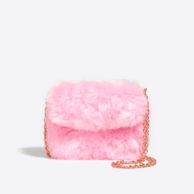 Girls' pink faux fur bag