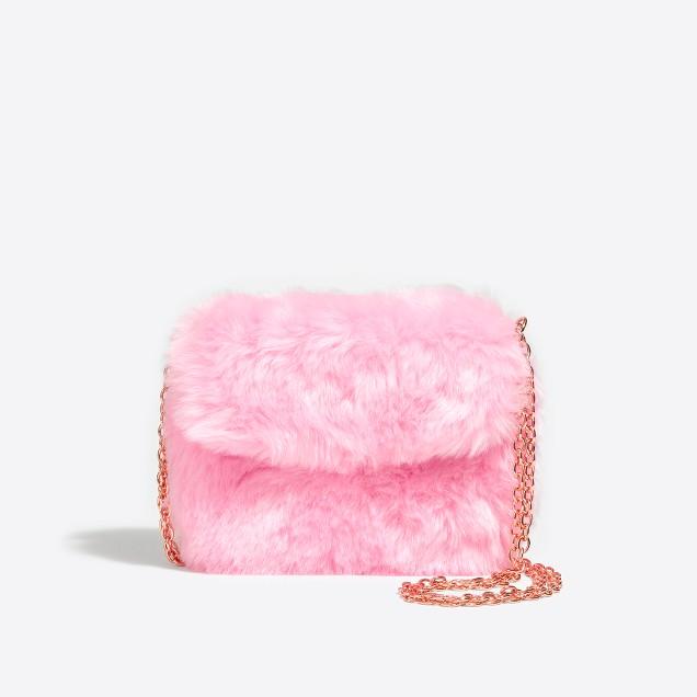 Girls' pink faux fur bag