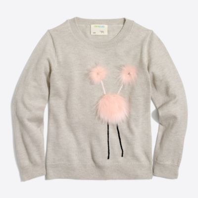 Girls' monster intarsia popover sweater